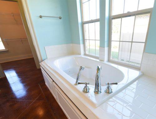 Bathroom with cement floors